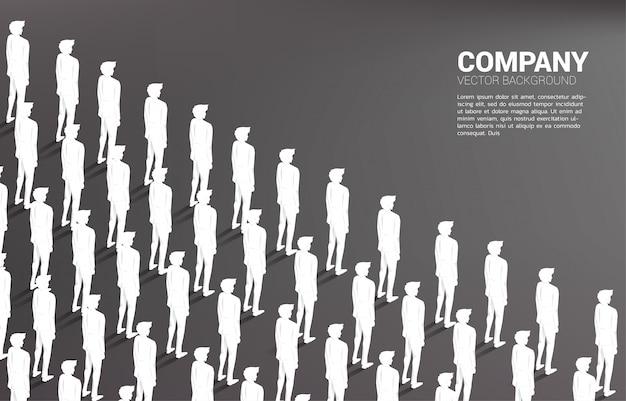 Группа бизнесмена, стоял вместе организованно.