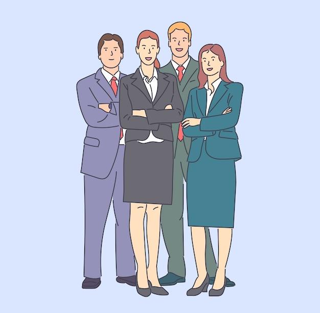 Группа бизнесменов рисованной