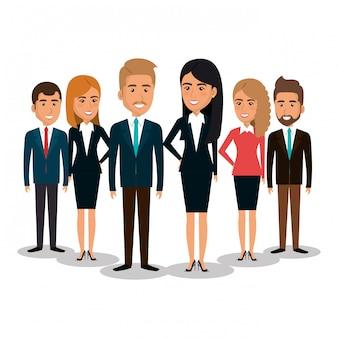 ビジネスマンチームワークイラストのグループ