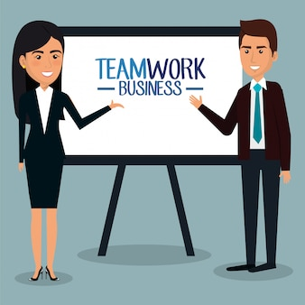 Группа бизнесменов с картонной иллюстрацией коллективной работы