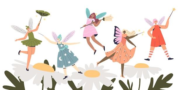 カモミールの花の上を飛んでいる漫画のかわいい妖精のグループ。翼と魔法の杖を持つ愛らしい女性の妖精のエルフ。フィクションと神話の概念。フラットベクトルイラスト