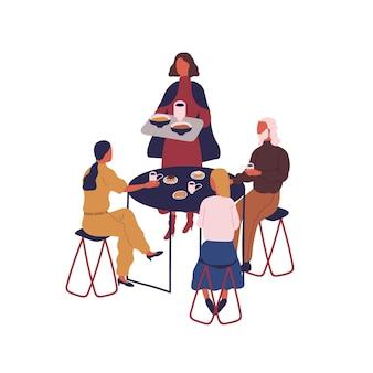白い背景で隔離のテーブルに座って食事を食べる漫画の人々のグループ。フードコートベクトルフラットイラストで一緒に時間を過ごすカラフルな家族。女性は皿とカップ付きのトレイを持参してください。