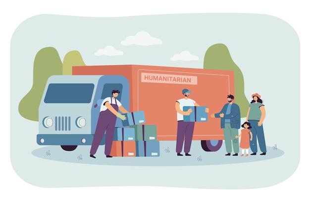 難民家族にフードボックスを与える漫画ボランティアのグループ