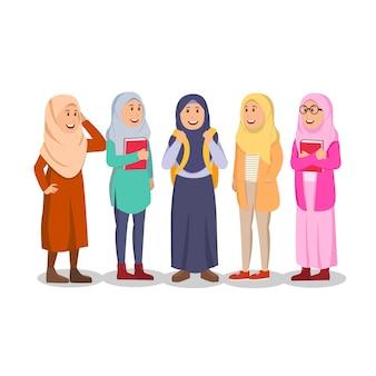 캐주얼 무슬림 여성 학생의 그룹