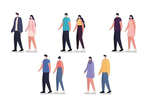 Группа случайных людей с дизайном иллюстрации маски безопасности