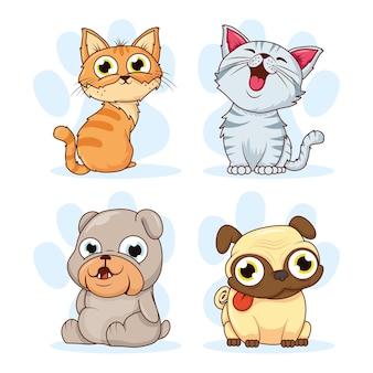 猫と犬のペットのキャラクターのグループ