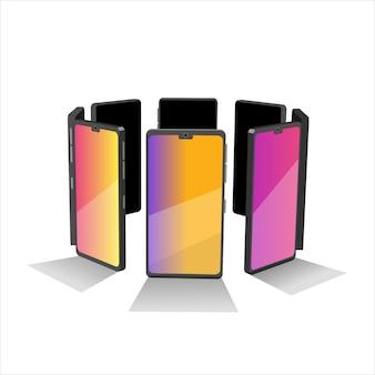 携帯電話のグループ。円形のスマートフォン。