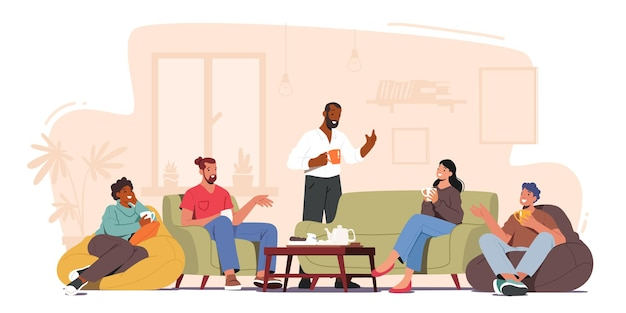 Группа персонажей празднует вечеринку дома