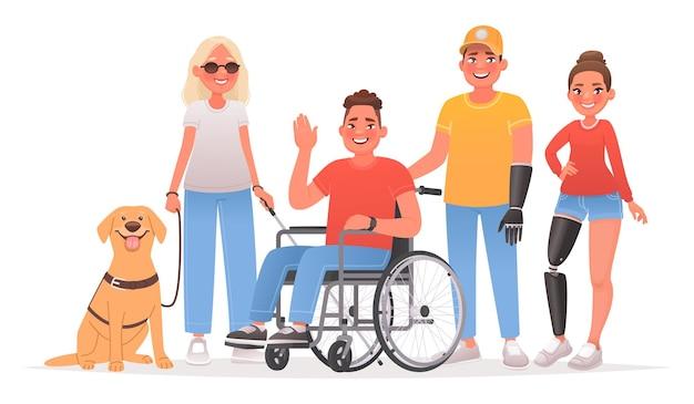 장애를 가진 문자 그룹 휠체어에 안내견 남자와 시각 장애인 여자