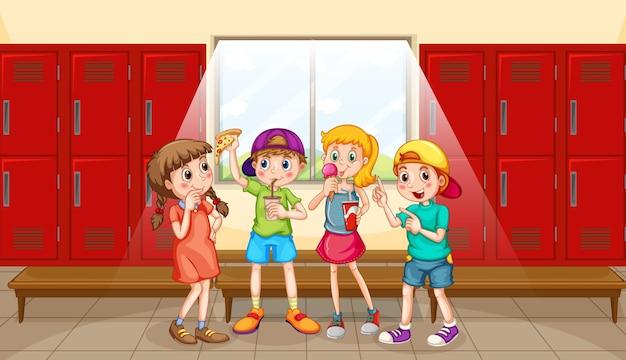 탈의실에서 어린이 그룹