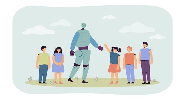 Группа детей, приветствующих плоскую иллюстрацию робота