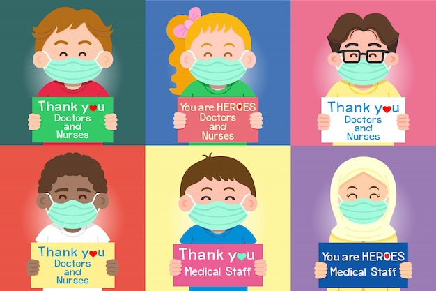 어린이 그룹은 의사에게 감사하고 칭찬하는 메시지와 함께 표지판을 들고