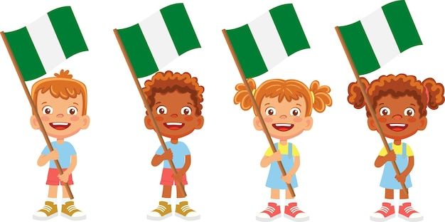 그들의 국기 그림을 들고 어린이의 그룹