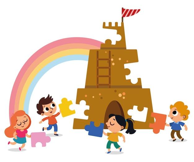 Группа детей объединила усилия, чтобы построить замок из кусочков головоломки векторная иллюстрация