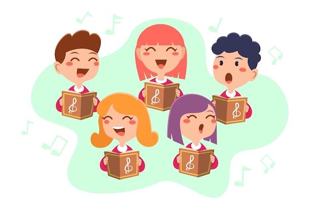 Группа детей, поющих в хоре, иллюстрированный