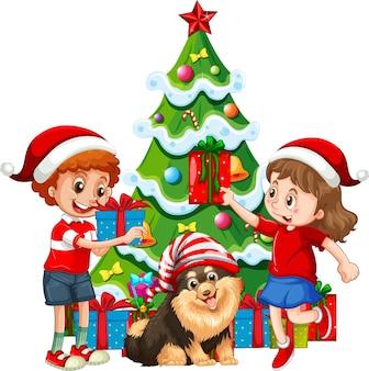 그들의 개를 가진 아이들의 그룹은 흰색 배경에 크리스마스 의상 만화 캐릭터를 착용
