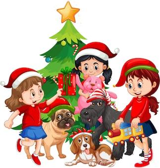 白い背景の上のクリスマス要素を持つ犬と子供たちのグループ