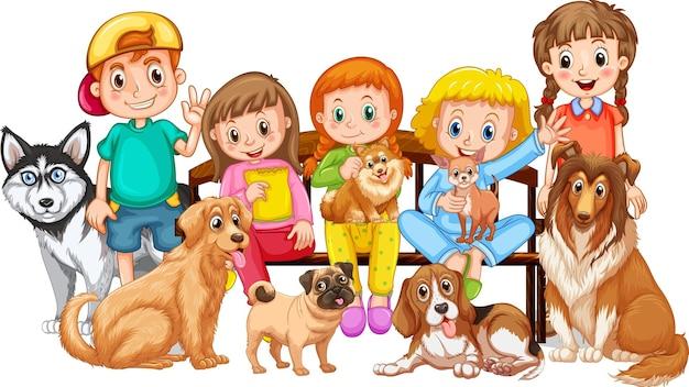 犬を連れた子供たちのグループ
