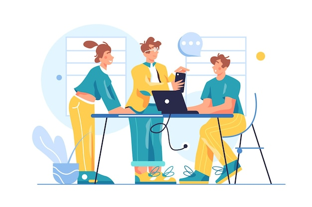 사무실에서 팀으로 일하는 동료의 그룹