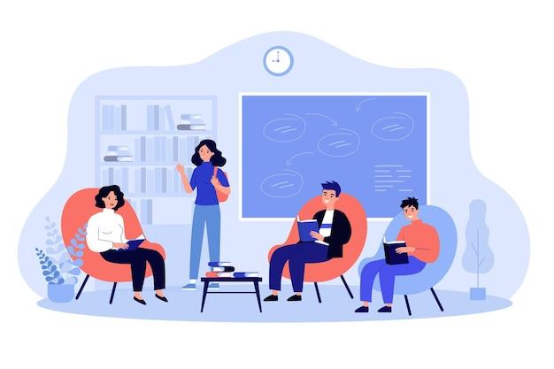 Группа студентов колледжа, сидя на стульях в классе иллюстрации