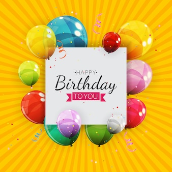 色の光沢のあるヘリウム風船背景のグループ。誕生日、記念日、お祝いパーティーの装飾のための風船のセット。図 Premiumベクター