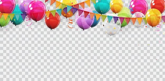 色の光沢のあるヘリウム気球の背景のグループ。誕生日、記念日、お祝いパーティーの装飾用の風船のセット。