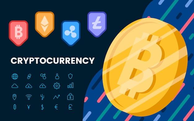 Cryptocurrenciesのグループ電子現金シンボルベクトル