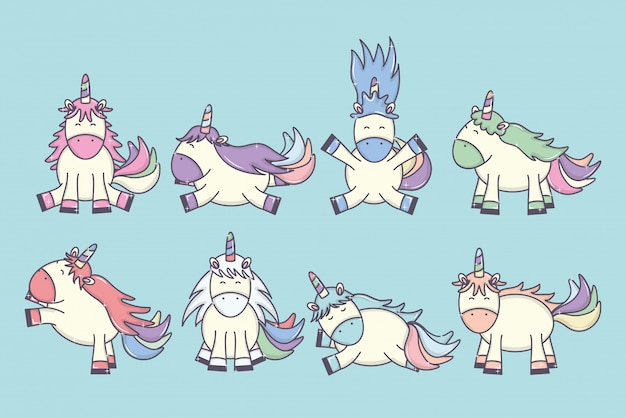 Группа милых очаровательных единорогов сказочных персонажей