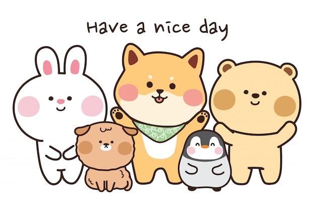 만화에서 귀여운 동물의 그룹입니다. 좋은 하루 텍스트를 보내십시오. 프리미엄 벡터