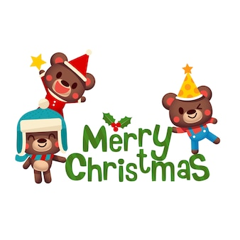 Group of cute bear cubs with Merry Christmas