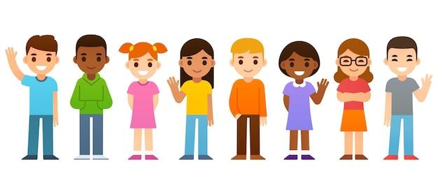 かわいい漫画のグループ多様な子供たちの簡単なベクトル図
