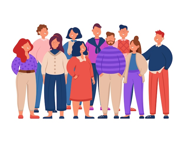 귀여운 만화 회사원 평면 그림의 그룹