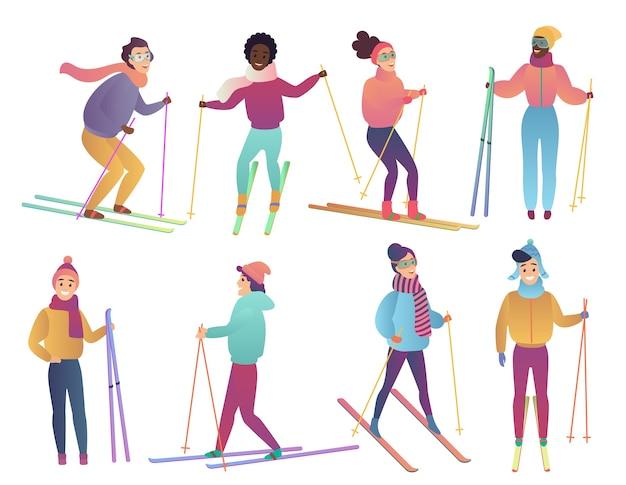 Группа лыжников милый мультфильм. люди катаются на лыжах. модный градиентный плоский цвет