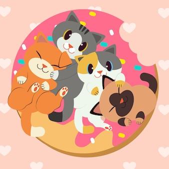 Группа милых кошек вкусный пончик