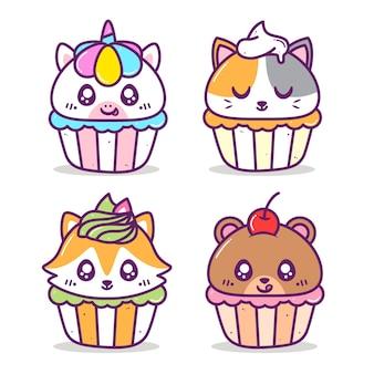 かわいいカラフルな動物のカップケーキのグループ