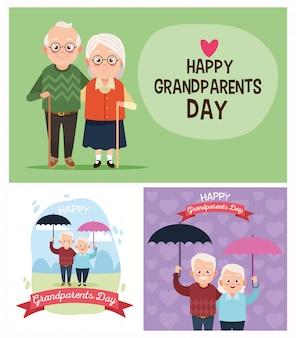 Группа милых пар бабушек и дедушек на день бабушек и дедушек