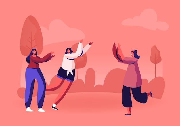귀여운 행복 소녀 바보와 함께 시간을 보내는 야외 점프의 그룹입니다. 만화 평면 그림