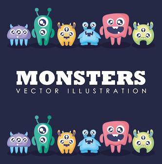 귀여운 괴물 카드의 그룹