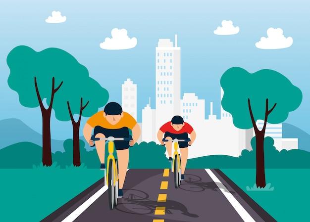 Группа велосипедистов в чемпионате