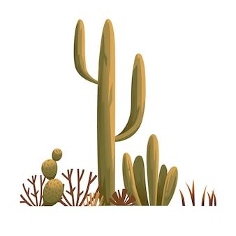 砂漠の植物サボテンいばらの雑草と白い背景の雑草フラット図のグループ