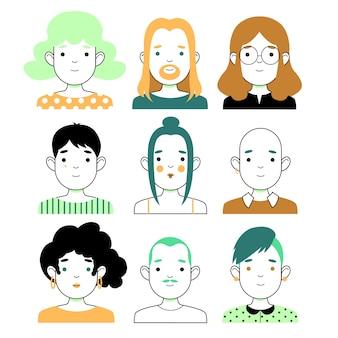 다른 사람과 얼굴의 그룹