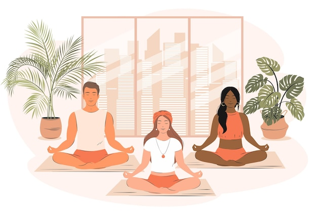 さまざまな人々のグループがヨガをし、ジムで瞑想しますヨガスクールとスポーツの概念