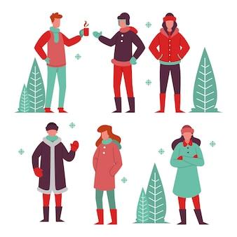 冬に居心地の良い服を着たさまざまな人々のグループ