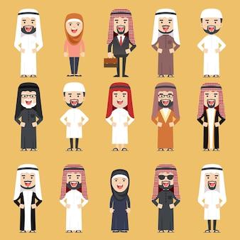 伝統的なアラブの服のさまざまな人々のグループ。フラットイラスト。