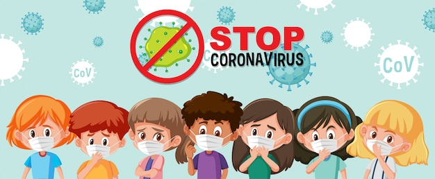 Группа разных подростков в маске с логотипом остановки коронавируса