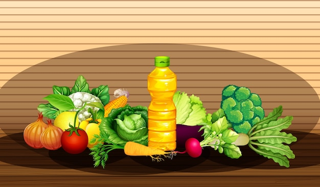 Группа различных овощей и бутылка масла на фоне деревянной стены