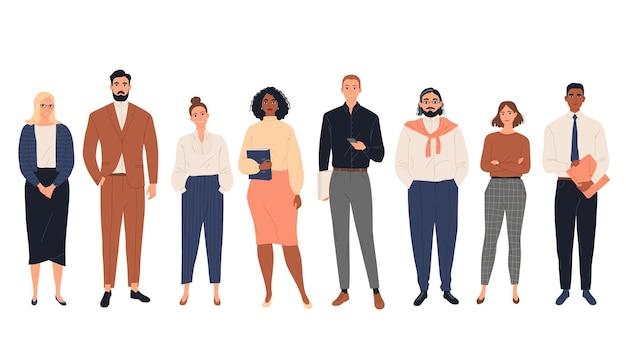 一緒に立っている多様なビジネスマンのグループ