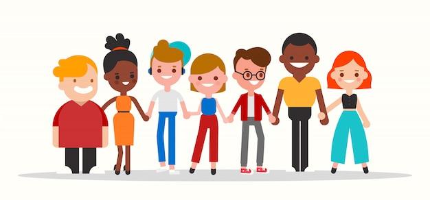 一緒にイラストを繋いでいる多様な人々のグループ。