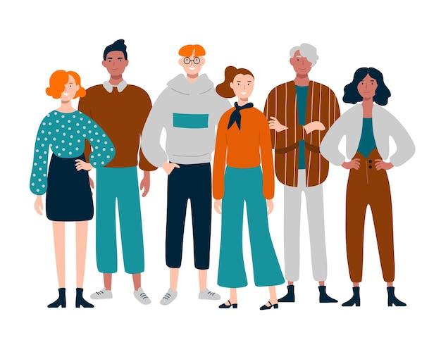 함께 서있는 다양한 젊은, 중년 사람들의 그룹입니다.