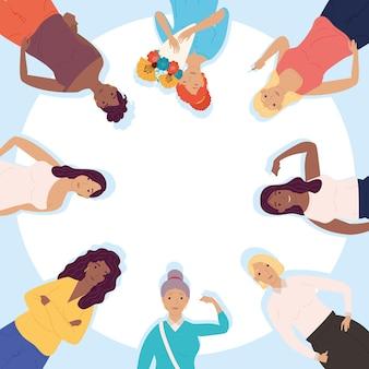 Группа разнообразных девушек-персонажей вокруг иллюстрации